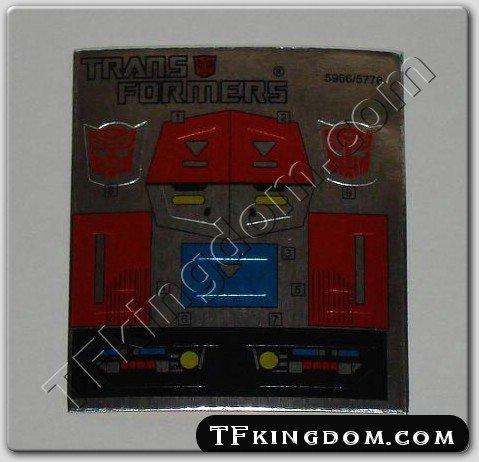 Transformers G1 Grotusque Sticker Decal Sheet