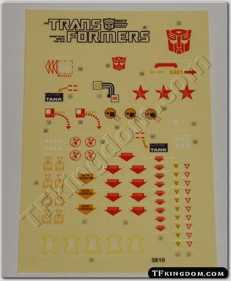 Transformers G1 Omega Supreme Sticker Decal Sheet