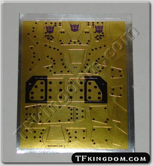Transformers G1 Razorclaw Sticker Decal Sheet