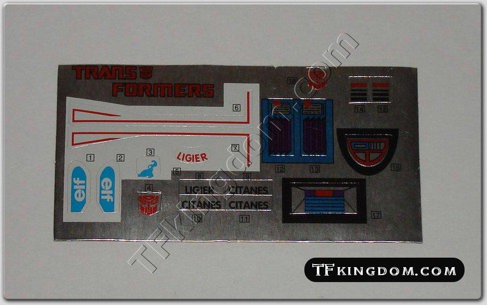 Transformers G1 Mirage Sticker Decal Sheet