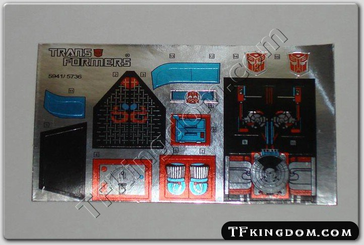 Transformers G1 Sandstorm Sticker Decal Sheet