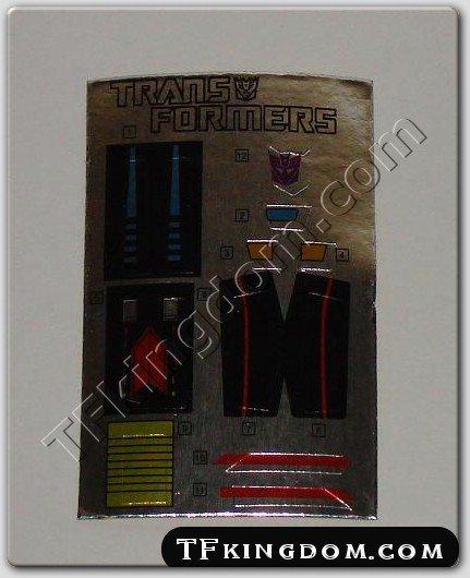 Transformers G1 Shrapnel Sticker Decal Sheet
