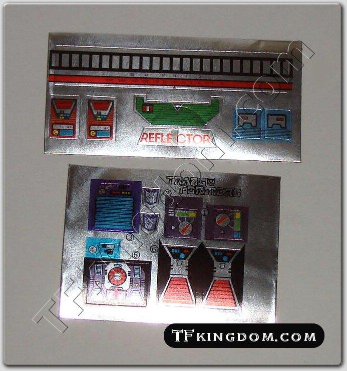 Transformers G1 Reflector Sticker Decal Sheet