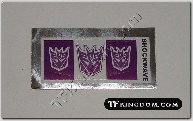 Transformers G1 Shockwave Sticker Decal Sheet