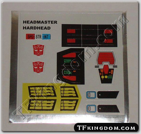 Transformers G1 Hardhead Sticker Decal Sheet