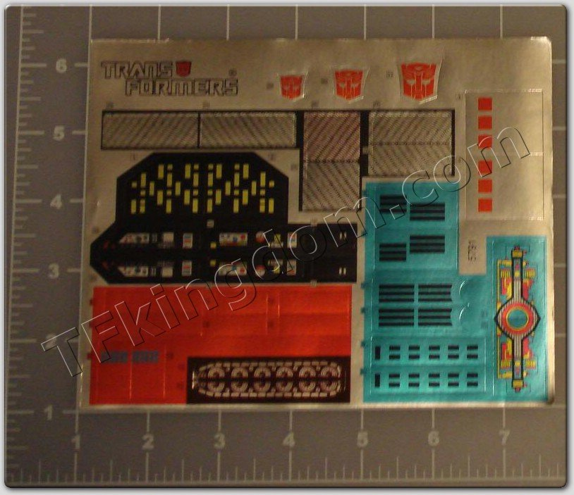 Transformers G1 Metroplex Sticker Decal Sheet #1