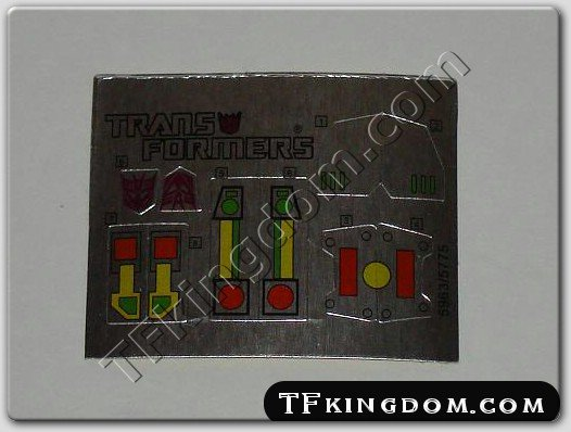 Transformers G1 Tantrum Sticker Decal Sheet