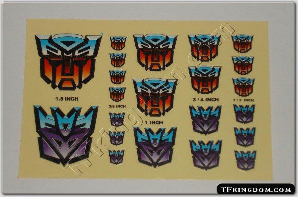 Transformers G1 Autobot Decepticon Symbol Sticker Decal Sheet