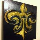 20x20 Fleur de lis textured painting 'Contenda' style - Painted by a Hallmark Artist