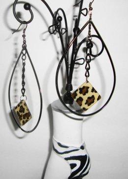 Teardrop Hoops with animal print charm