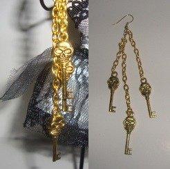 Skull Keys Dangle earrings
