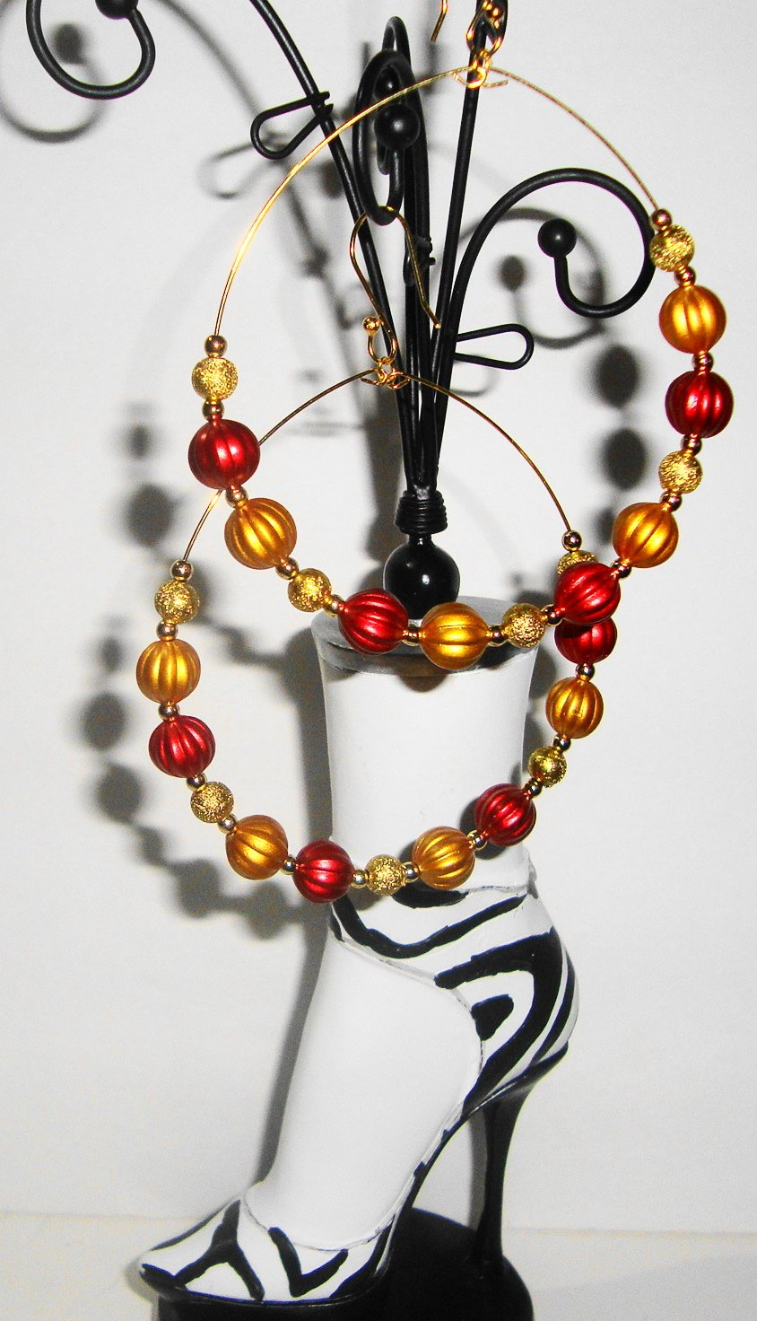 Gold & Red Bead Hoops