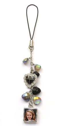 Cell Phone Charm - Classic Black w/ pink accent