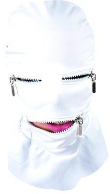 Stretchy White Spandex Fetish Hood Full Mask w/ Zippers
