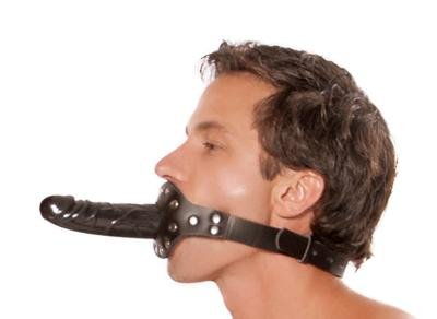 Leather Ball Gag w/ Lock & Dong Bondage