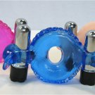 Blue Vibrating Dolphin Cock Ring Dual Bullet Anal Clit Vibe