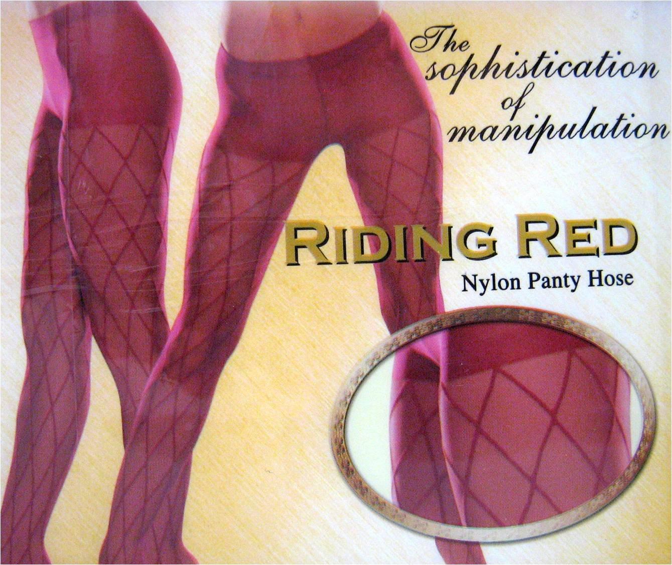 Red Nylon Pantyhose Stockings w/ Diamond Design Costume