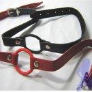 Fetish Leather Breathable O-Ring Gag Oral Bondage NIB