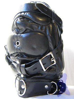 Full Sensory Deprivation Mask Padded PU Leather Bondage