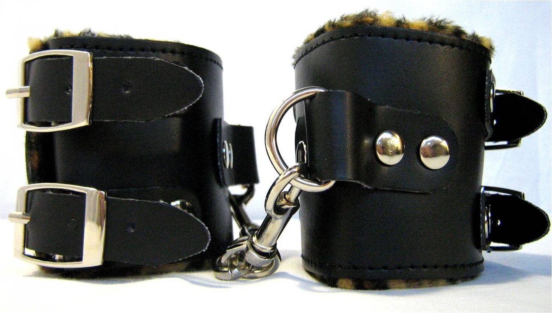 Leather Buckle Wrist Cuffs w/Cheetah Print Fur Bondage