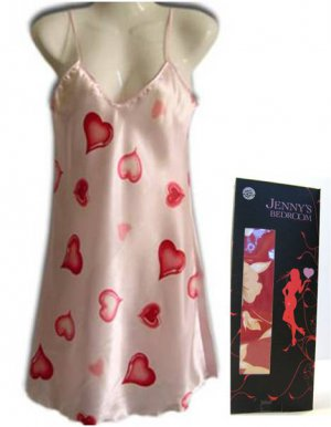 Sexy Satin Nightgown Babydoll Nighty w/Hearts or Floral