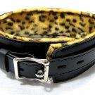 Black Leather Cheetah Print Lockable Collar Bondage