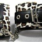 Leopard Print Leather Wrist Cuff Cuffs Goth Bondage NIB