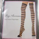 Black Color Punk Rock Stripe Over Knee Stockings Sheer Striped Socks ~ Halloween Thigh-Highs