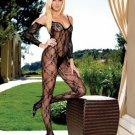 Flower Lace Body Stocking BodySuit w/ Attached Sleeves
