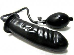 "6"" Black Pump-Up Inflatable Penis Anal Plug Butt Dildo"