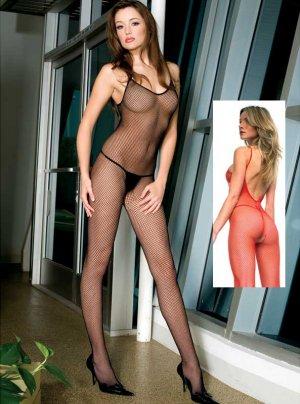 White Spaghetti Strap Fishnet Body Stockings with Deep V Back