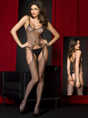 Punk Suspender Fishnet Crotchless Bodystocking in Black