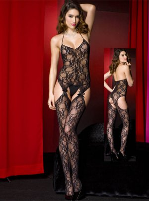Lace Teddy Bodystockings and Thigh High Garter Set