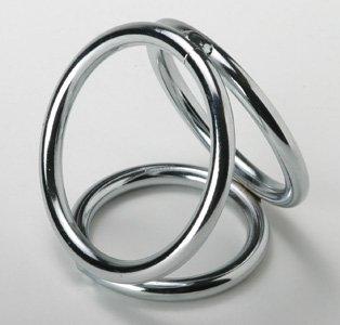 Three Metal Chrome Triple Cock Ball Ring Penis Enhancer- Medium Size
