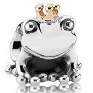 New handmade 925 sterling silver frog queen crown 14ct GP charm bead European bracelet free shipping
