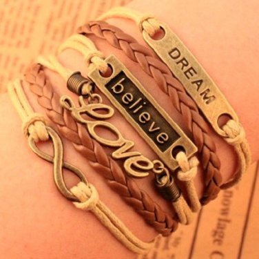 New Antique Friendship Infinity LOVE DREAM BELIEVE Charm Leather Multilayer Bracelet