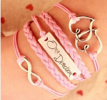 New Antique Friendship Infinity ONE DIRECTION HEART  Charm Leather Multilayer Bracelet