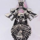 new Antique 316L Stainless Steel Skull Wolf charm pendant necklace free shipping