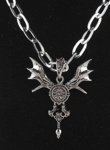 new Antique 316L Stainless Steel Horns wing round charm pendant necklace free shipping