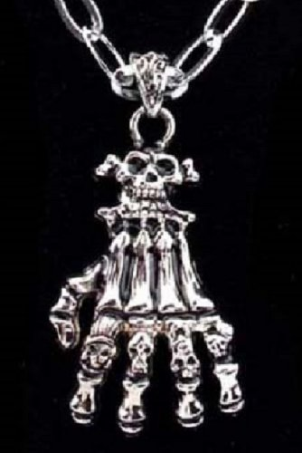 new 316L Stainless Steel Crossbones Skull hand skeleton charm pendant necklace free shipping