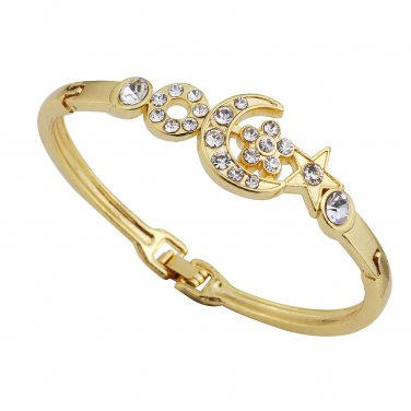 New Fashion Gold Plated Crystal Moon & Star bangle bracelet free shipping