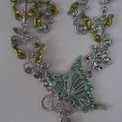 New fashion light green color butterfly flower necklace earrings set free shipping