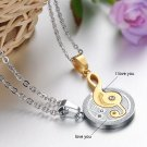 new Fashion 316L Stainless steel couple Puzzle Music Gold Note love for him and her necklace FREE