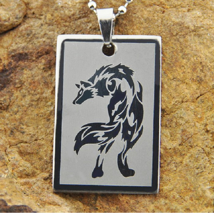 new Stainless Steel full body Wolf charm Dog tag pendant necklace free shipping