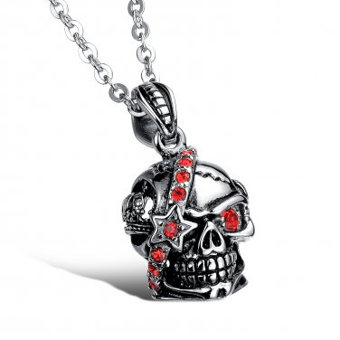 New Fashion 316L Stainless steel Rock Punk Red crystal Skull Skeleton necklace free shipping