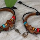 New set leather keys couple bracelets  WOOD BEAD for him and for her  FREE SHIPPING
