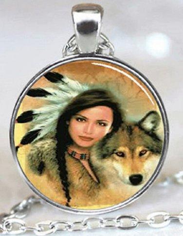 New Fashion Native American Women Wolf Stereoscopic charm Unisex Pendant Silver color Necklace