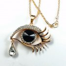 New Fashion Awesome Rose Gold Plated Black Evil Eye Crystal Teardrop Pendant Long Necklace
