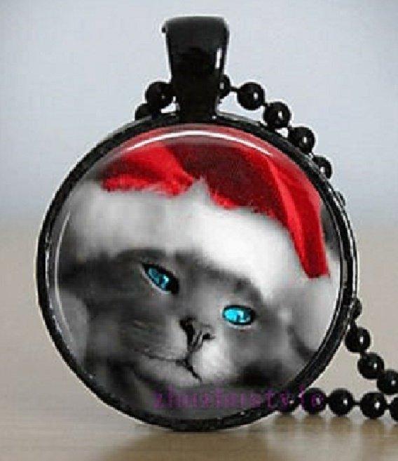 New Fashion Pretty Cat Christmas Santa Hat Stereoscopic Unisex Black Ball Chain Pendant Necklace
