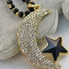 ADORABLE UNIQUE Full Crystal Moon Star Bead Chain Pendant Long Necklace